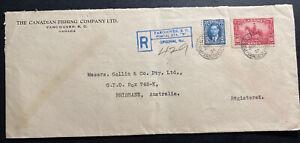 1938 Vancouver Canada Fishing Company Cover To Brisbane Australia