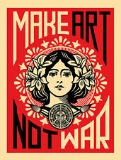 MAKE ART NOT WAR PRINT BY SHEPARD FAIREY urban flower girl obey famous poster