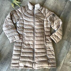 Calvin Klein Jacket Medium Long Champagne Puffer Packable Lightweight Pocket