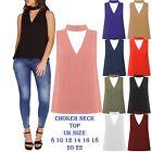 New Women's Cut Out Plunge V Neck collar Choker High Neck Blouse Shirt Top