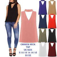 New Womens Cut Out Plunge V Neck collar Choker High Neck Blouse Shirt Top