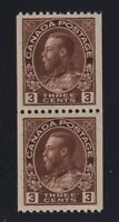 Canada Sc #134 (1921) 3c brown Admiral Coil Pair Mint VF NH