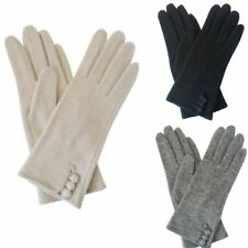 New Womens Triple Button Wool Gloves Ladies Winter Gloves Free UK Delivery
