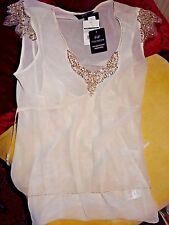 F & F New Ladies cream ivory coloured silky embellished top integral camisole 16