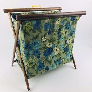Vtg MCM Stand Up Wood Folding Frame Sewing Knitting Basket Floral Fabric Bag