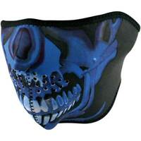 Zan Headgear Blue Chrome Skull Half Face Neoprene Motorcycle Riding Mask