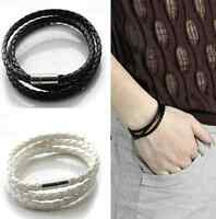 Men Women Leather infinity Interlaced Cuff Bangle Wristband wrap Bracelet hs one