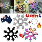 18 in1 Stainless Multi-tool Snowflake Keychain Wrench Screwdriver Bottle Opener~
