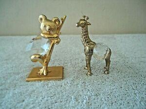 Vtg Lot Of 2 Miniature Gold Color Metal ?  / Crystal Figurines 1 Koala,1,Giraffe