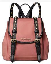 New Michael Kors Leila Mini Flap snap closure Nylon Backpack Bag studding Rose