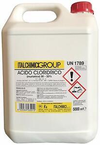 Acido cloridrico muriatico disincrostante anticalcare sgrassante pulizia 30-33%
