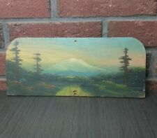 Vtg Oil Painting On Wood Plywood Primitive Rustic Mountain Forest Scene Folk