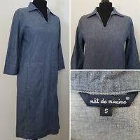 Ladies MAT DE MISAINE Blue Denim Dress Sz S 8/10 Utility Lagenlook Boho Pockets