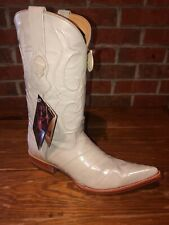 LOS ALTOS Bone eel skin and leather western boots 9 USA EE Brand New in Box!!!!!