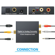 Digital to Analog Audio Converter & 1M Toslink Optical cable RCA L/R 3.5mm Jack