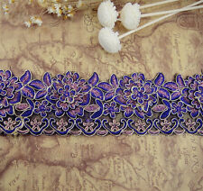 Violet en dentelle de mariée parage brodé bordure ruban mariage floral de couture bordure
