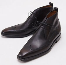 NIB $1290 SUTOR MANTELLASSI Dark Brown Leather Wingtip Ankle Boots US 8 D Shoes