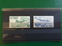 2 air France vintage colonial stamps