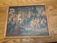 Antique ART DECO Wood Picture Frame Jesus Christ Print Rare Art 19x15.5 Vtg