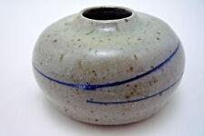Signed Signed P. Banker Studio Art Pottery Squat Vase Weed Pot  Grey Speckle
