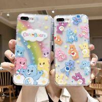 Cute Cartoon Rainbow Bear Girls Phone Case Transparent Cover For iPhone Xs Max 6