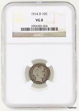 1914-D Barber Silver Dime 10C NGC VG8 VG08