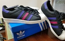 Adidas Superstar 80's shoes sneakers black leather 3 stripes leaf size 9 retro
