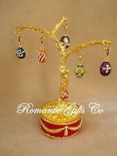 Russian Imperial Empress Alexandra Musical Egg Tree & 6 Egg Pendants Fur Elise
