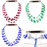 Natural Ruby Emerald Sapphire 3 Strand Oval Shape Beads Handmade Necklace