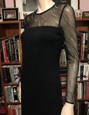 ST. JOHN EVENING SANTANA LITE SWAROVSKI CRYSTALS Cocktail Dress Sheer Sleeves 4