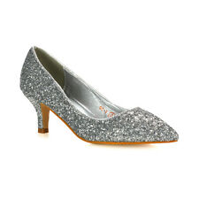 Womens Glitter Pointed Shoes Ladies Slip On Low Heel Bridal Party Courts Pumps