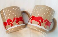 2 Ceramic Coffee Mugs/Cups  England GHC  Beige W/ Red Horses And White Snow