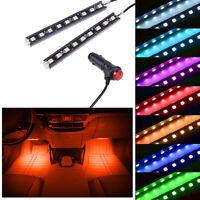 2x 9 LED Orange Car Interior Atmosphere Footwell Strip Light USB Decor Lamp New
