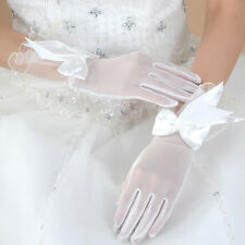 Ivory White Bride Wedding Party Dress Costume Lace Satin Bowknot Bridal Gloves
