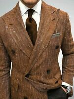 Mens Suits Herringbone Double-Breasted Blazer Peak Lapel Groom Jacket Custom