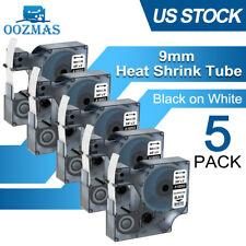 5pk Heat Shrink Tube Wire 12mm Label Tape 18055 For Dymo Rhino 5200 4200 5000
