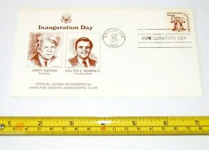 1977 JIMMY CARTER FIRST ISSUE STAMP ENVELOPE INAUG pinback pin button political