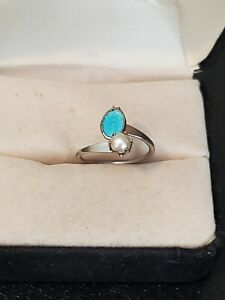 Silver Tone Size 3 Ring Faux Pearl and Blue Enamel Pinkie or Toe Teen Kid Women