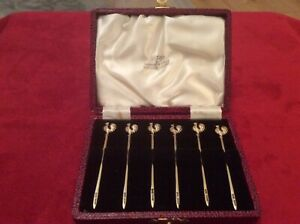 Cased set of 6 Cocktail Sticks Walker & Hall