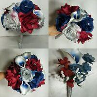 Burgundy Navy Blue Silver Rose Calla Lily Bridal Wedding Bouquet & Boutonniere
