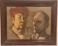 "Oil Painting on Board Portrait of Men Unsigned Framed Art  (15.5"" x 19.5"")"