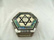 """Egyptian Mother of Pearl Paua Shell Inlaid Star Of David Jewelry Box 5"""""""