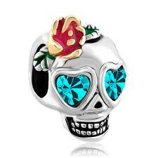 Skull Dia De Los Muertos Charms Rose Blue Crystal Bead Jewelry Bracelets