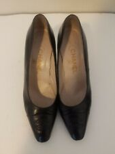 authentic chanel cc logo black leather heels 36
