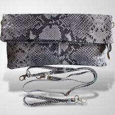 Clutch Abendtasche Schultertasche Leder Umhänge Tasche Handtasche Grau 2