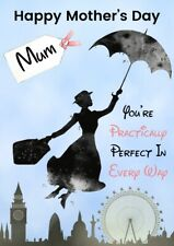 Personalised Mothers Day card Mary Poppins any name/relation