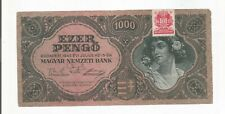 HUNGARY 1000 PENGO 1945 BANKNOTE W/REVENUE STAMP