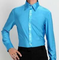 long sleeve Mens Latin Salsa Ballroom Tango Modern Jazz Dress Shirt Dance Shirts
