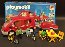 Playmobil 3213 Vintage Red Family Van With Bicycle Trailer
