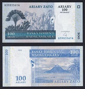 Madagascar 100 ariary on 500 francs 2004 FDS/UNC  B-09
